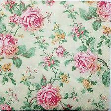 ROSES PINK VINTAGE 2 single LUNCH SIZE  paper napkins for decoupage 3-ply