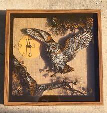 "ELGIN vintage Owl ATOMIC CLOCK circa 1976 20.5x20.5x3""  RARE AWESOME!!"