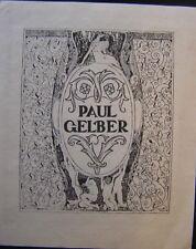 Bookplate ex libris of Paul Gelber by Erhard Amadeus Dier