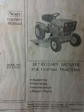 "Sears Custom 10XL Lawn Garden Tractor 38"" Mower Deck Owner & Parts Manual 12pg"