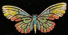 COSTUME BROOCH - GORGEOUS CRYSTAL ENCRUSTED ALLOY BUTTERFLY - NEW - NEVER WORN.