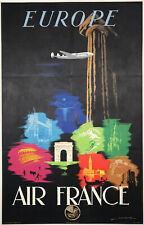 Air France Europe Original 1948 Vintage Advertising Lithograph Travel Poster