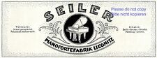 Piano Factory Seiler Legnica ad 1920 Germany german advertising Grand Piano +