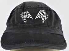 Black Checkered Racing Flags NASCAR Finish Flags Cadet hat cap Adjustable