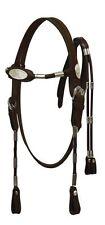 Dark Brown Leather Western Bridle w/Silver Ferrules Arab Cob Horse or Large Pony