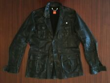 Rare HUGO BOSS Designer Luxury 100% Goat Leather Jacket Black Blazer Men's M L