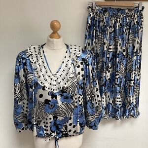 DIANE FREIS Vintage Top Skirt UK 14 Blue Patterned Ruffle Pleated Statement Bold