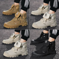 Men's Canvas Outdoor Ankle Boots Fashion Lace Up High Top Combat Martin Shoes