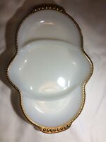 Vintage Fire King Oven Ware White Milk Glass with Gold Trim Divided Dish EUC USA