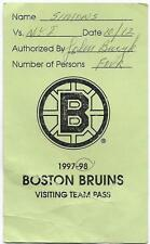 Bruins - Islanders 10.12.1997 Visiting Team Pass Signed by John Bucyk