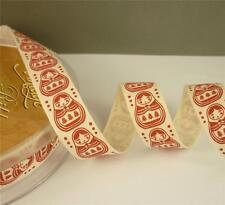 ~ 2 x METRES of CUTE RED & CREAM RUSSIAN BABUSHKA DOLL DESIGN RIBBON ~ 17mm ~