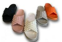 LADIES WOMENS FLAT SPIKE STUDS CHUNKY FLATDROM SLIP ON SLIDES SLIDERS SANDALS SZ