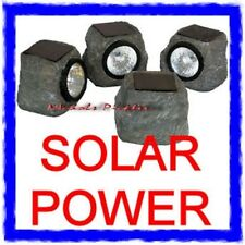 4 X SOLAR STONE ROCK LED GARDEN LIGHT SET POND DECKING