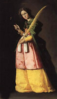 """Oil painting female portrait St.Apollonia holding a branch no framed canvas 36"""""""