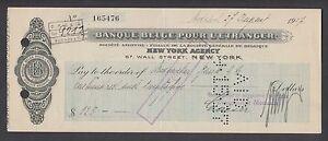 Belgium 1927 Banque Belge Pour L'Etranger Check