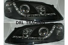 LED Projector Black Headlights to suit FORD FAIRMONT BF Mk II GHIA New DRL Style
