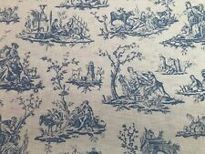TOILE DE JOUY LINEN CURTAIN/UPHOLSTERY FABRIC - WEDGEWOOD BLUE - BY THE METRE