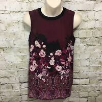 Adriana Papell Womens XS Purple Rose Floral Sleeveless Top Blouse D8