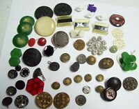 Lot of 58 Vintage Sewing Buttons - Glass Porcelain Lucite Metal Victorian & More