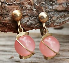 Vintage 1960s Pink Bead Drop Earrings Screw-in Retro Jewellery 60s Jewelry Gold