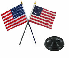 "USA American & Betsy Ross Flag 4""x6"" Desk Set Table Black Base"