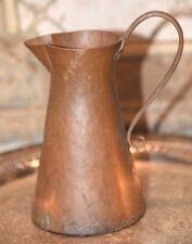 "Antique Primitive Arts & Crafts Hammered Hand Raised Copper Pitcher Ewer 6.75""H"