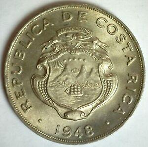 1948 Costa Rica BU Copper Nickel Colon Coin Edge Lettering BNCR Uncirculated