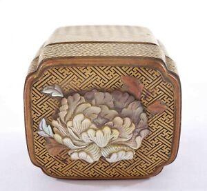 1930's Japanese Makie Lacquer Wood Mother Pearl Inlay Shibayama Kogo Incense Box