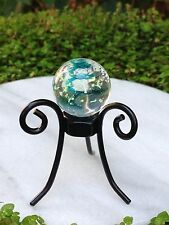 Miniature FAIRY GARDEN ~ Gazing Ball Stand w Glow in Dark Glass Orb TURQUOISE
