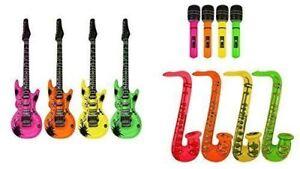 Inflatable Guitar/Saxophone/Microphone Blow Up Fancy Dress Party Bag Prop lot