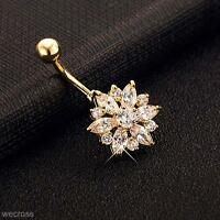 Flower Gem Crystal Rhinestone Body Piercing Jewelry Belly Button Navel Ring Gift