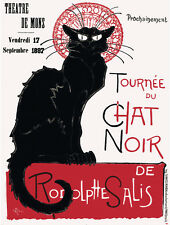 "16x20""poster on CANVAS.Room Interior art design.Black cat.Chat Noir.french.7423"