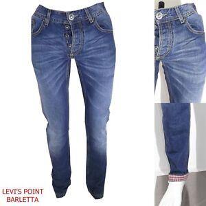 jeans uomo denim frankie garage dritto risvolto a quadri taglia W28 29 30 31 32