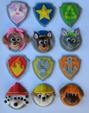 12 edible PAW PATROL THEME CUPCAKE cake topper DECORATION BADGE shield DOGS KIDS