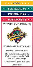 RARE**** SET OF 1997 WORLD SERIES, CLEVELAND INDIANS, GALA PARTY PASSES-UNUSED