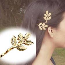 1 Pair Fashion Lovely Leaves Golden Metal Punk Hairpin Hair Clip Wedding Gifts