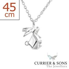 925 Sterling Silver Origami Rabbit Pendant Necklace (45cm / 18 inch)