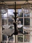 Antique French Ezan Art Deco Copper Chandelier 4 Arm Opalescent Icicle Glass