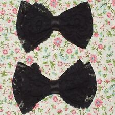 2 VINTAGE STYLE BLACK LACE NET GOTH PUNK 4in HANDMADE HAIR DOUBLE BOWS CLIP E103