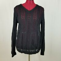 Women's Croft & Barrow Sweater Size L Black Open Knit Long Sleeve Warm