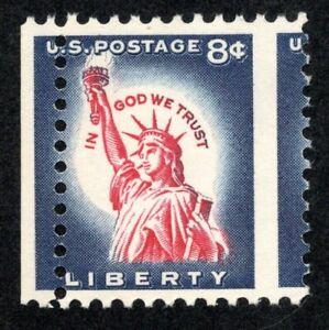 US # 1042 (1954) MNH, 3c Statue of Liberty - EFO: Misperf