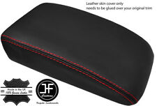 RED STITCH TOP GRAIN LEATHER ARMREST LID COVER FOR VW GOLF MK5 MK6 2004-2013