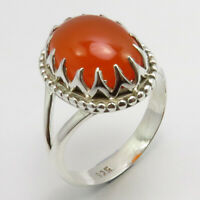 925 Solid Silver Genuine Carnelian Ring Size 8 Ladies Gift Jewelry