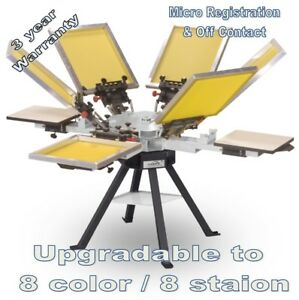 Vastex V-1000 Professional Screen Printing Manual Press 4 Station / 6 Color