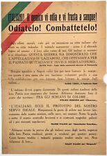 """RSI """"ITALIANI! IL NEMICO VI ODIA E VI FRUSTA A SANGUE!"""" volantino di propaganda"""