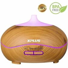 XPLUS 300ml Aroma Essential Oil Diffuser Wave Design Wood Grain Air Humidifier