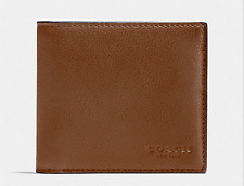 NEW MEN COACH Sport Calf Leather Double Billfold Wallet Dark Saddle F75084 $150