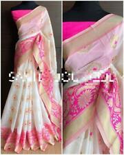 Party Sari kanchipuram Silk Pattu Saree White With Blouse Banarasi Silk Saree 07