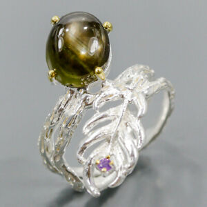 One of a kind Black Star Sapphire Ring Silver 925 Sterling  Size 7 /R176798