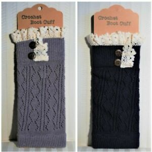 2 pair -Women's Navy & Gray Crochet Boot Cuff with lace and buttons- one size